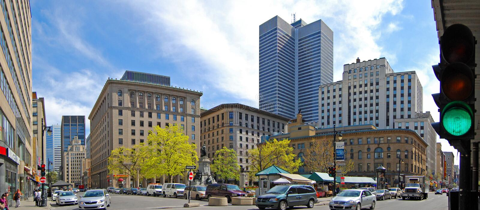 Phillips Square, Montreal, Canada. Phillips Square on Saint Catherine Street and Place Ville-Marie panorama in Montreal, Quebec, Canada stock photography