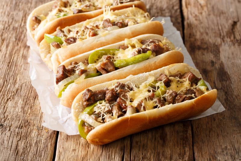 Philly cheese steak sandwich with onion and roasted pepper close royalty free stock photos