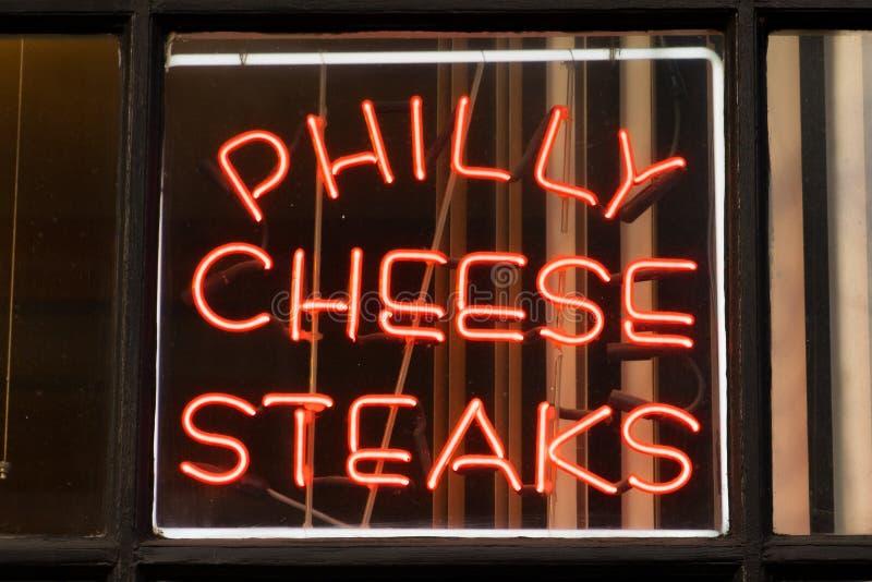 Philly-Käse-Steak-Zeichen stockbilder