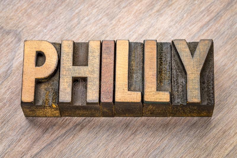 Philly word abstract in letterpress wood type royalty free stock photography