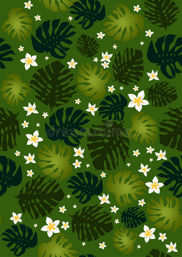 philodendron листьев цветков безшовный иллюстрация штока