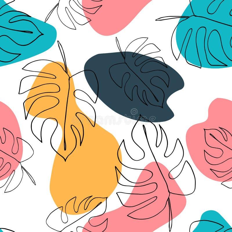 Philodendron-Anlage Monstera l?sst nahtloses Muster Hintergrund in der minimalen linearen Art Abstrakter moderner Druck Modernes  lizenzfreie abbildung