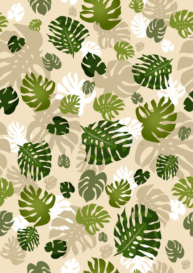 Philodendron leaves seamless stock illustration