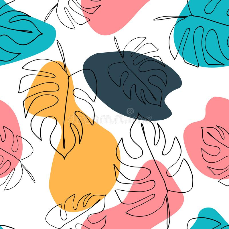 Philodendron plant. Monstera leaves seamless pattern. Background in minimal linear style. Abstract modern print. Modern trendy gra royalty free illustration