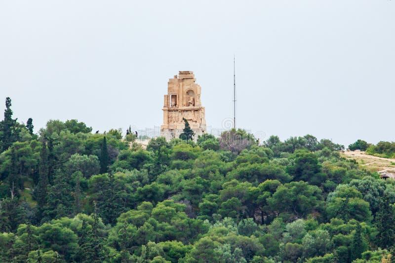 Philopappos纪念碑是一座古希腊陵墓和纪念碑,雅典,希腊 免版税库存照片