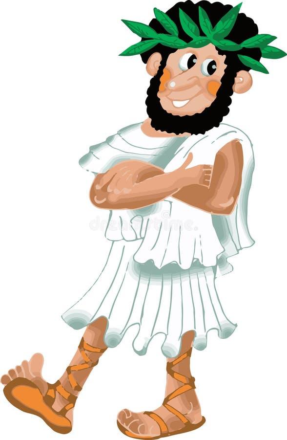 Philosophe du grec ancien en guirlande de laurier illustration de vecteur