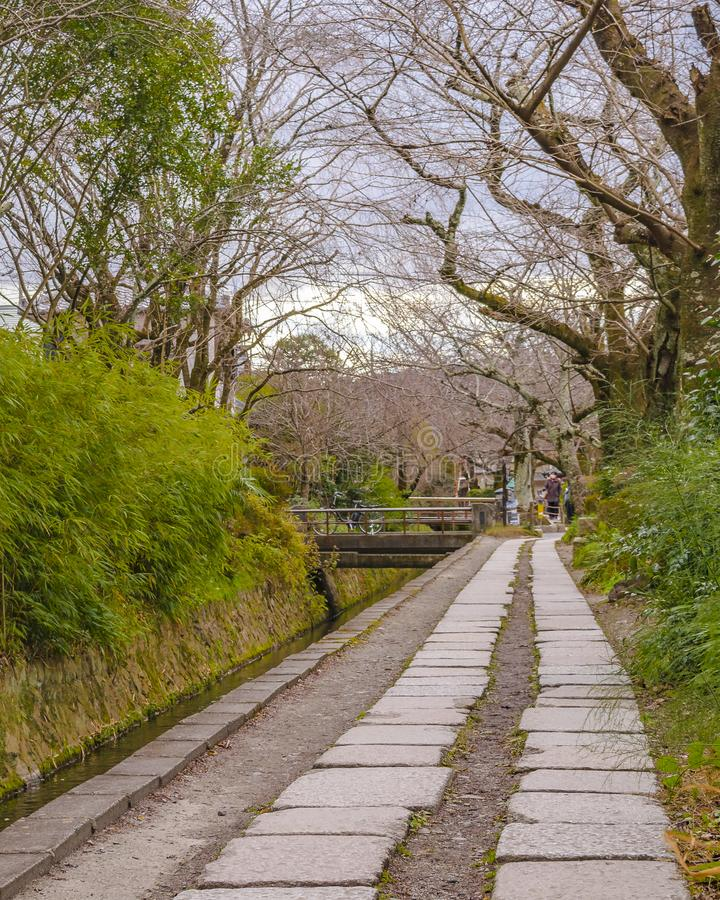 Philosopher Path, Kyoto, Japan. KYOTO, JAPAN, JANUARY - 2019 - Beautiful street winter scene at famous philosopher path, kyoto, japan stock images
