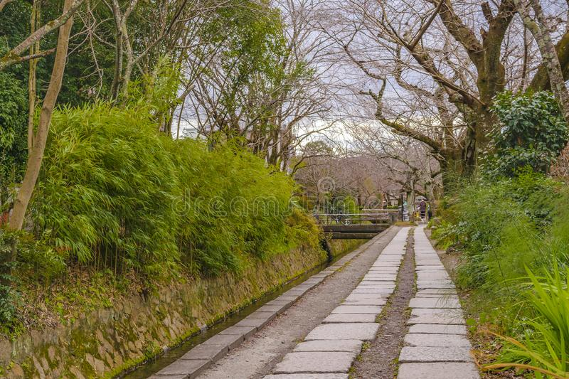Philosopher Path, Kyoto, Japan. KYOTO, JAPAN, JANUARY - 2019 - Beautiful street winter scene at famous philosopher path, kyoto, japan stock image