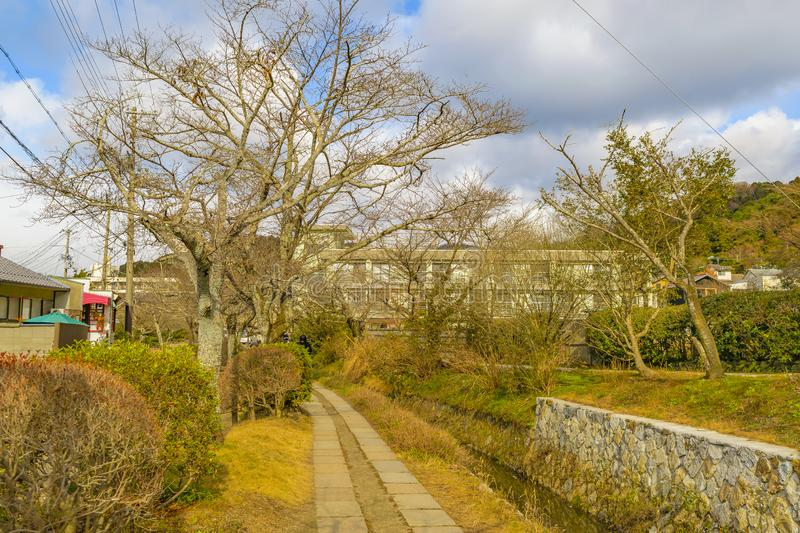 Philosopher Path, Kyoto, Japan. KYOTO, JAPAN, JANUARY - 2019 - Beautiful street winter scene at famous philosopher path, kyoto, japan royalty free stock photo