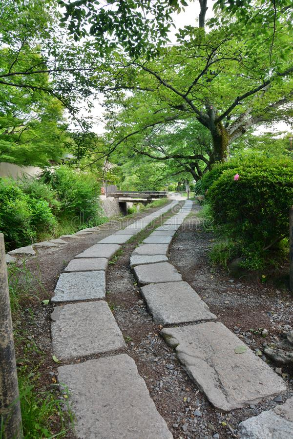 The Path of Philosophy. Kyoto. Japan. The Philosopher`s Walk is a pedestrian path that follows a cherry-tree-lined canal in Kyoto, between Ginkaku-ji and Nanzen royalty free stock images