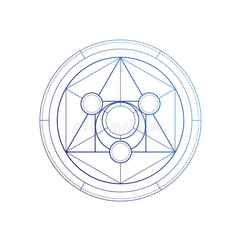 Free Philosopher Stone Sacred Geometry Spiritual New Age Futuristic Illustration With Transmutation Interlocking Circles And Stock Image - 176588561