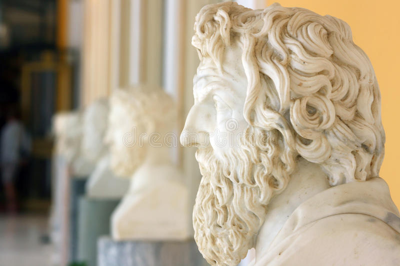 Philosophers. Busts placed on the terrace of Achillion palace, Corfu, Greece stock images