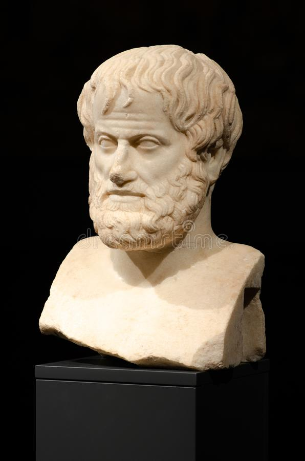 Philosophy. Aristotle. The marble bust of the great philosopher Aristotle, found in 2005 during archaeological excavations, Acropolis Museum of Athens, Greece stock image