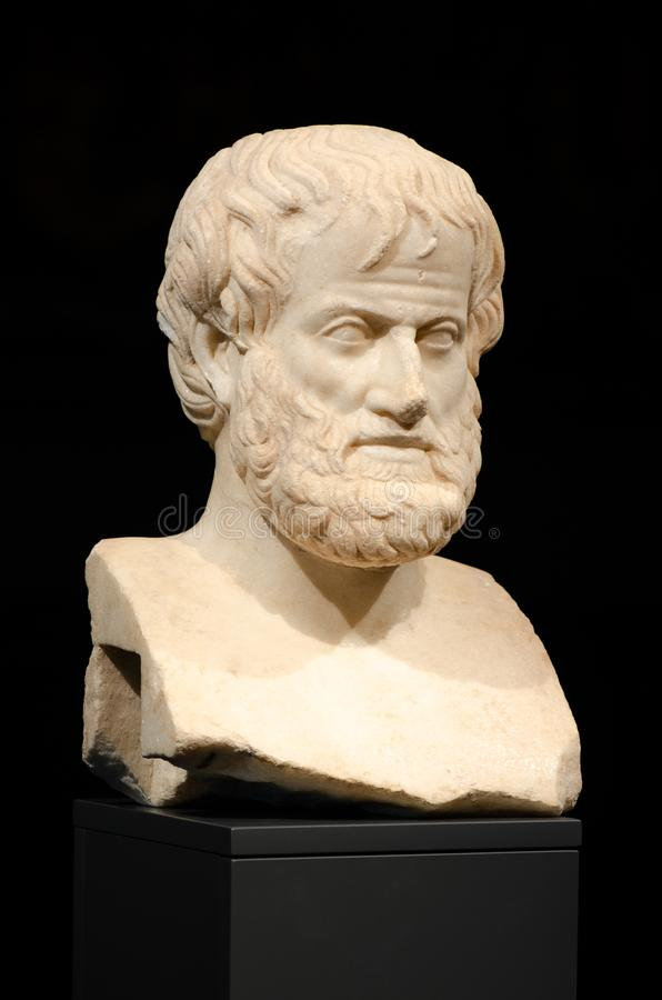 Philosophy. Aristotle. The marble bust of the great philosopher Aristotle, found in 2005 during archaeological excavations, Acropolis Museum of Athens, Greece royalty free stock image