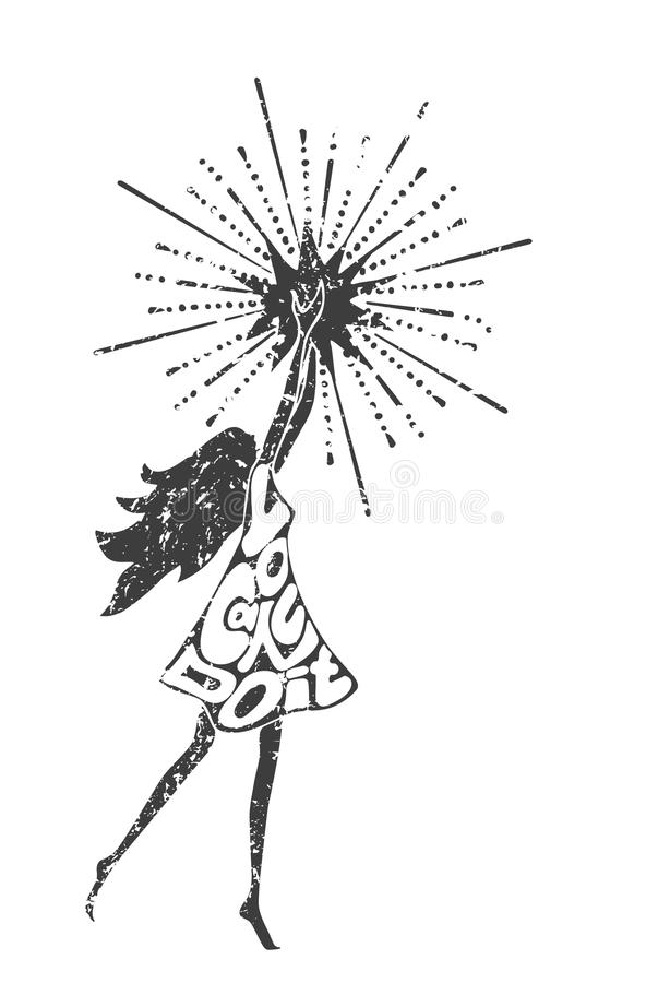 Philosophy poster with inscription. Girl holding a star. Black and white philosophy poster with inscription. You can do it. Girl holding a star. Motivational stock illustration