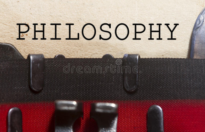 Philosophy typed on a vintage paper. Philosophy concept typed on an old vintage paper with od typewriter font royalty free stock image