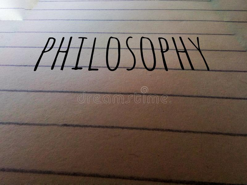 Philosophy word written on the paper. Philosophy word written paper text font letter royalty free stock photography