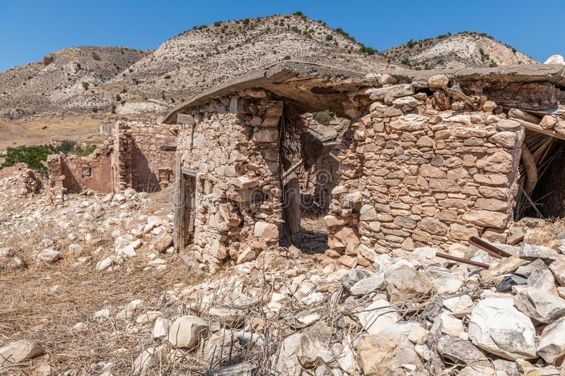 Phinikas is a Deserted Island in Paphos District, Cyprus. Phinikas is a deserted village in paphos district. It was evacuated after the Turkish invasion of stock image