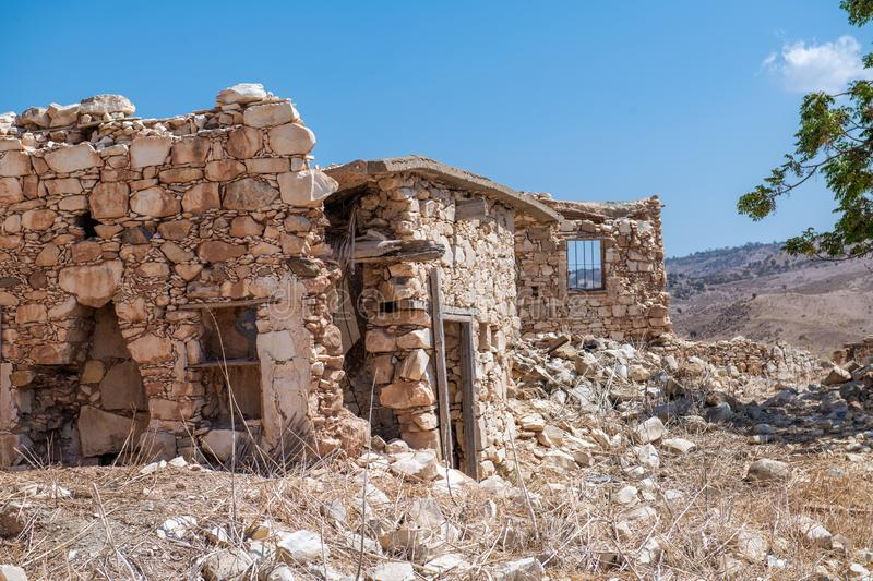 Phinikas is a Deserted Island in Paphos District, Cyprus. Phinikas is a deserted village in paphos district. It was evacuated after the Turkish invasion of royalty free stock photos