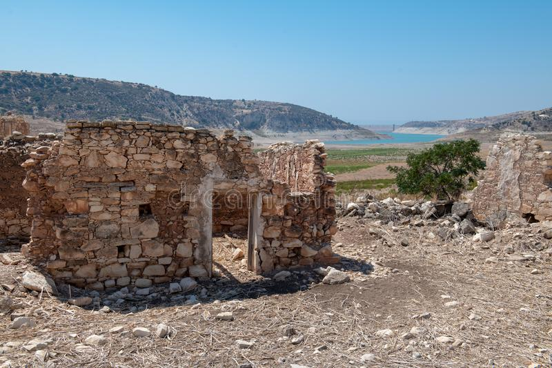 Phinikas is a Deserted Island in Paphos District, Cyprus. Phinikas is a deserted village in paphos district. It was evacuated after the Turkish invasion of royalty free stock photography