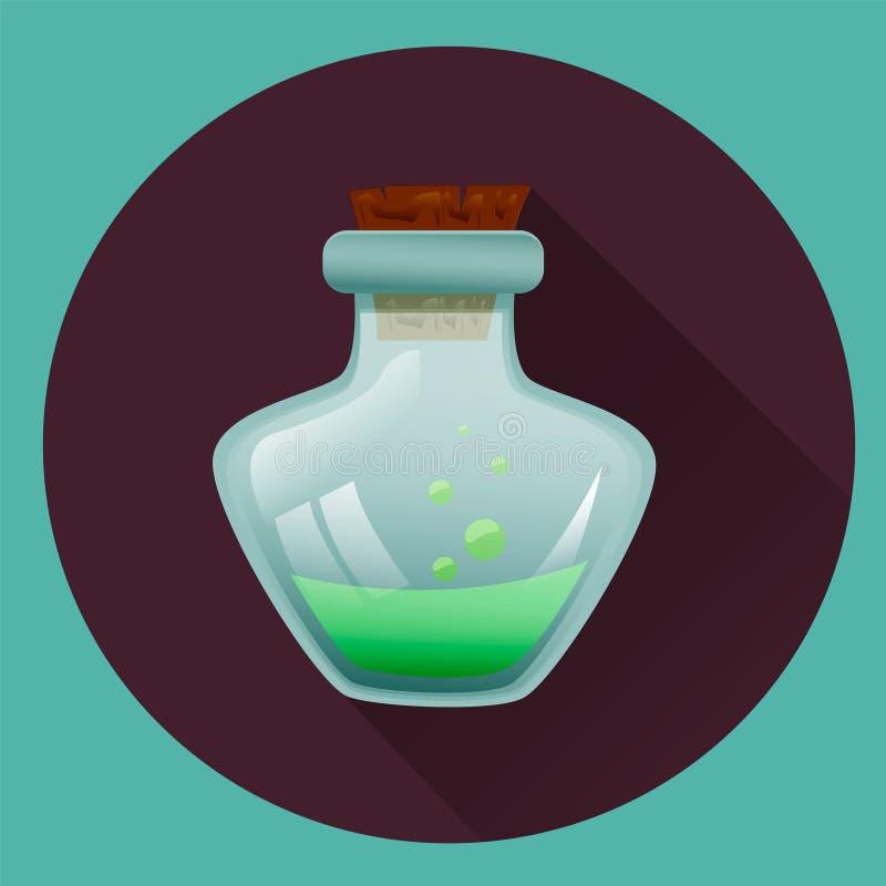 Phiole mit grüner Flüssigkeit Ikone für Halloween Spielikonen vektor abbildung