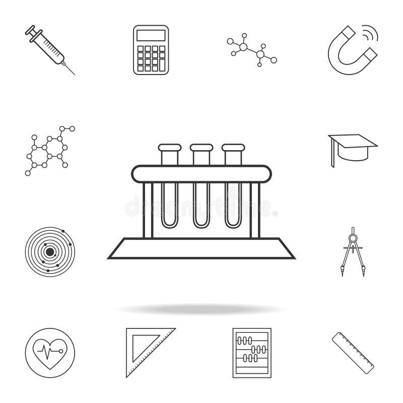 Phiolenrohrikonen Ausführlicher Satz Wissenschaft und Lernen von Entwurfsikonen Erstklassiges Qualitätsgrafikdesign Eine der Samm vektor abbildung