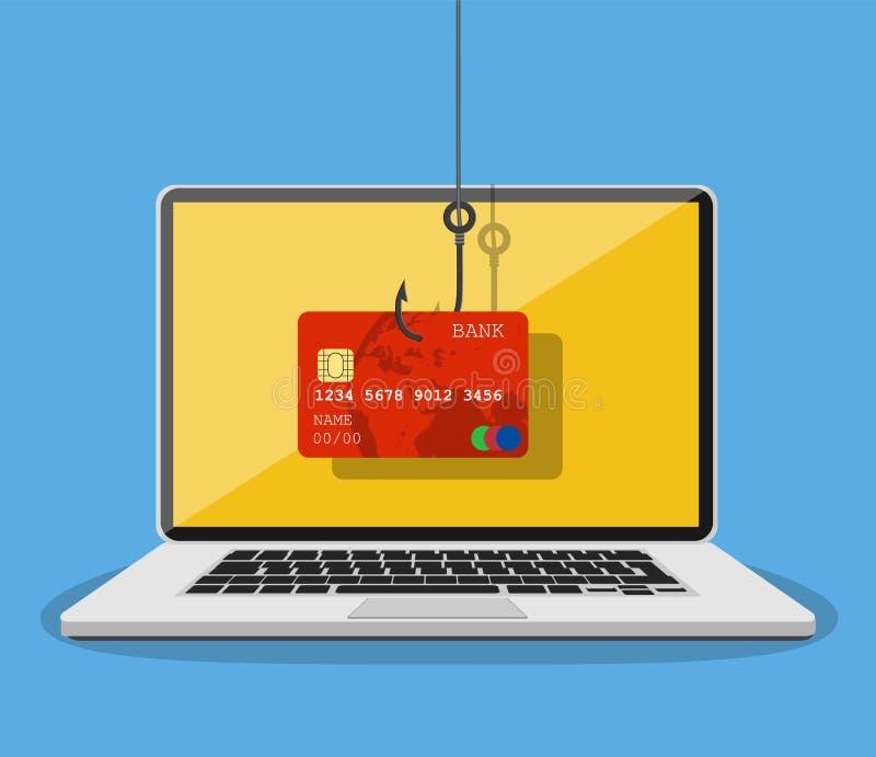 phishing和乱砍攻击概念的互联网 向量例证