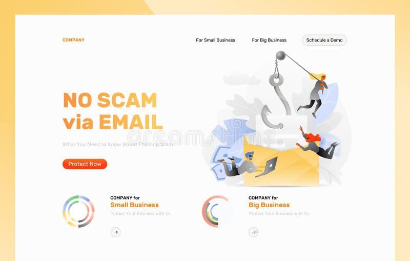 Phishing电子邮件攻击设计模板 库存例证