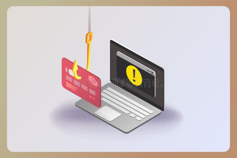 Phishing通过互联网等量传染媒介概念例证 库存例证
