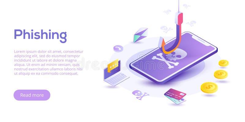 Phishing через иллюстрацию концепции вектора интернета равновеликую ema иллюстрация штока