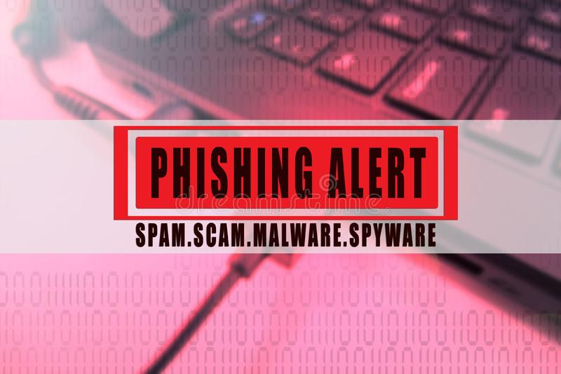 PHISHING ALERT: SCAM,SCAM,MALWARE,SPYWARE CONCEPTUAL with laptop background stock photos
