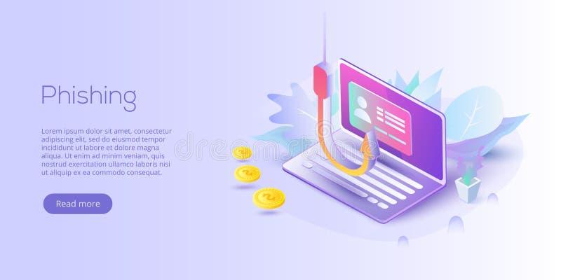 Phishing através da ilustração isométrica do conceito do vetor do Internet ema ilustração stock