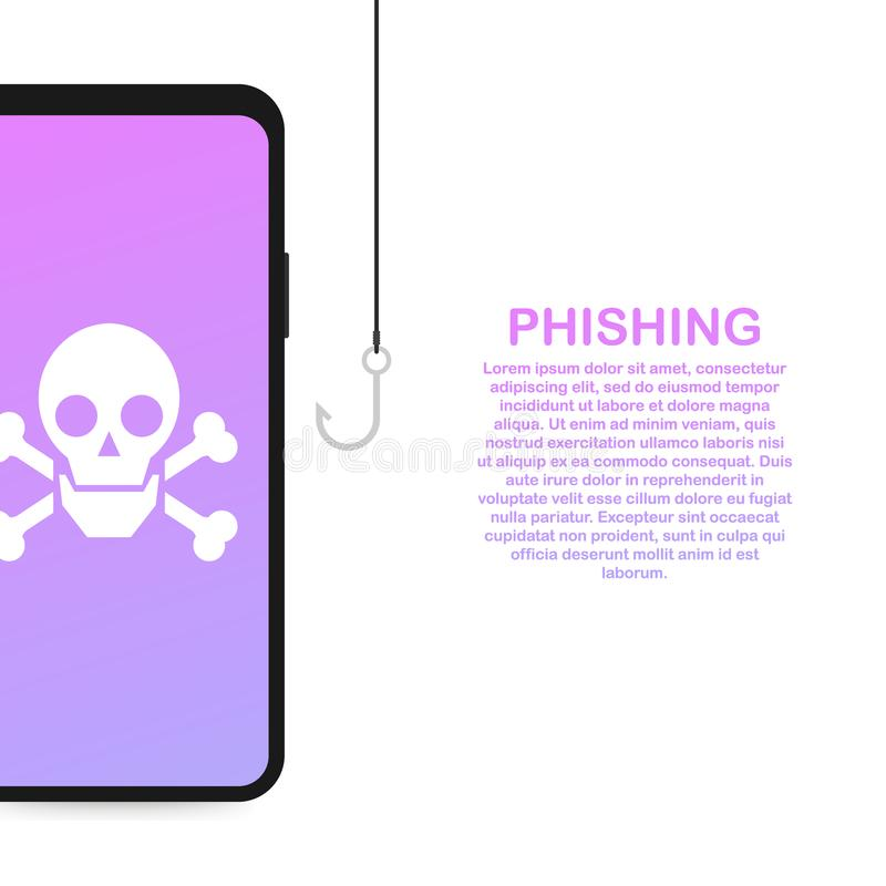 Phishing através da ilustração isométrica do conceito do vetor do Internet Mensagens da falsificação ou da pesca do email ilustração do vetor