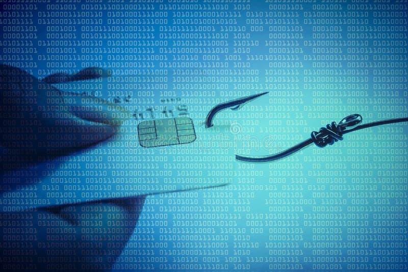 Phishing. Attack on credit card data /  - fish hook and credit card / hand holding a credit card with a fish hook stock photo