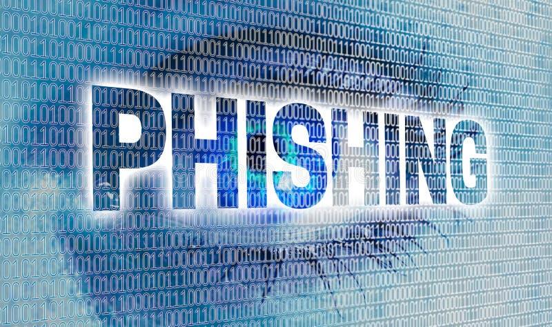 Phishing-Auge mit Matrix betrachtet Zuschauerkonzept stockfotos