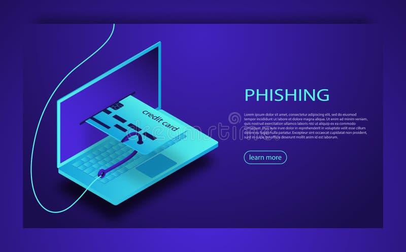 Phishing d'Internet, login entaillé et mot de passe Entailler la carte de crédit ou le site Web de l'information personnelle Atta illustration stock
