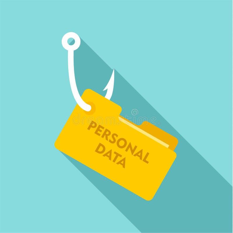 Phishing dane osobista ikona, mieszkanie styl royalty ilustracja