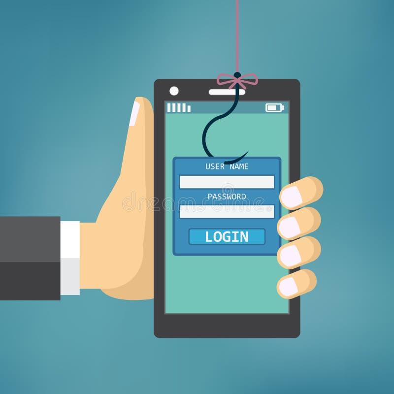 Phishing de los datos con el gancho de pesca stock de ilustración