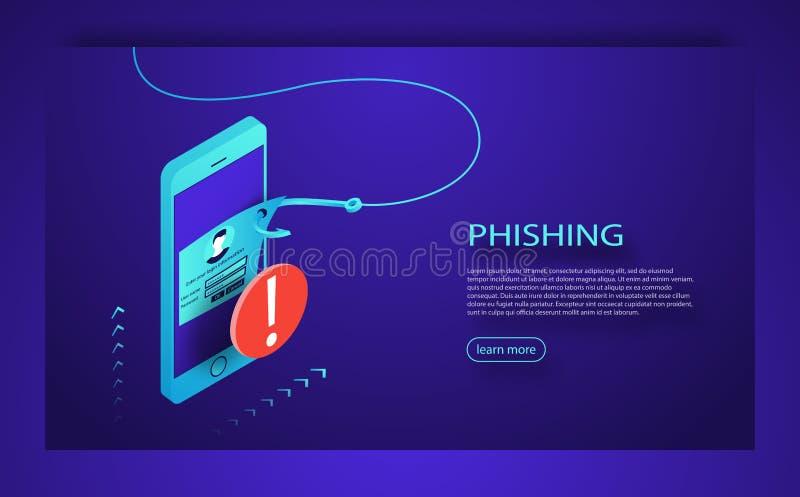 Phishing för internet, hackad inloggning och lösenord Phishing svindel, en hackerattack och rengöringsduksäkerhetsbegrepp royaltyfri illustrationer