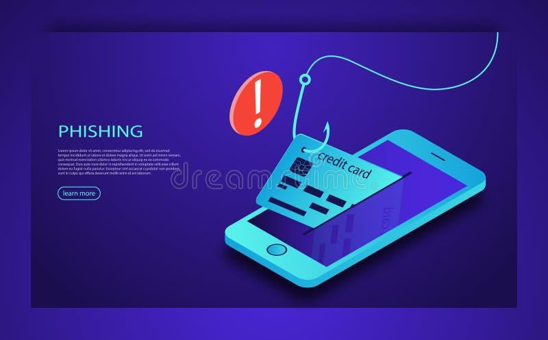 Phishing för internet, hackad inloggning och lösenord Website för dataintrångkreditkort eller för personlig information Cyberkont vektor illustrationer