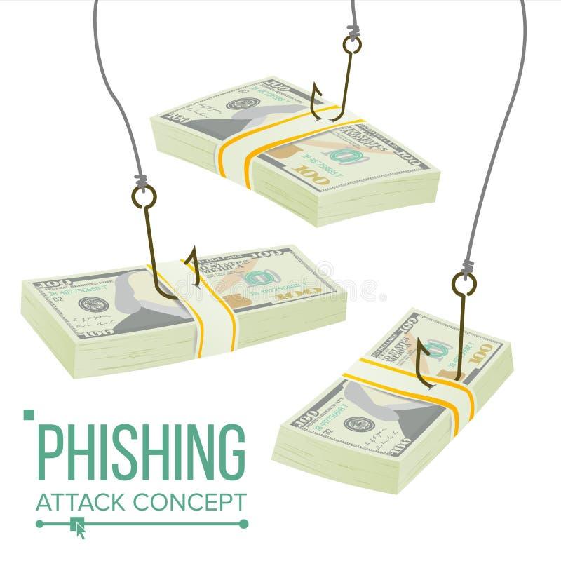 Phishing-Geld-Konzept-Vektor Betrugs-Diebstahl-Schutz Durchsickern-Informationen Der Rechner, die Feder und das Diagramm Soldat m stock abbildung