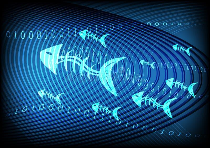 Phishing-Informationstechnologie-Blau-Hintergrund lizenzfreie abbildung