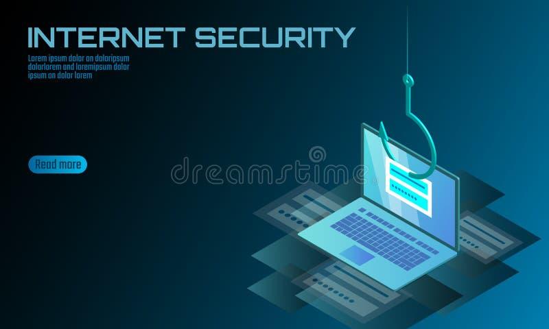 Phishing isométrico de la contraseña del inicio de sesión del ordenador portátil 3D Pirata informático del correo electrónico de  ilustración del vector