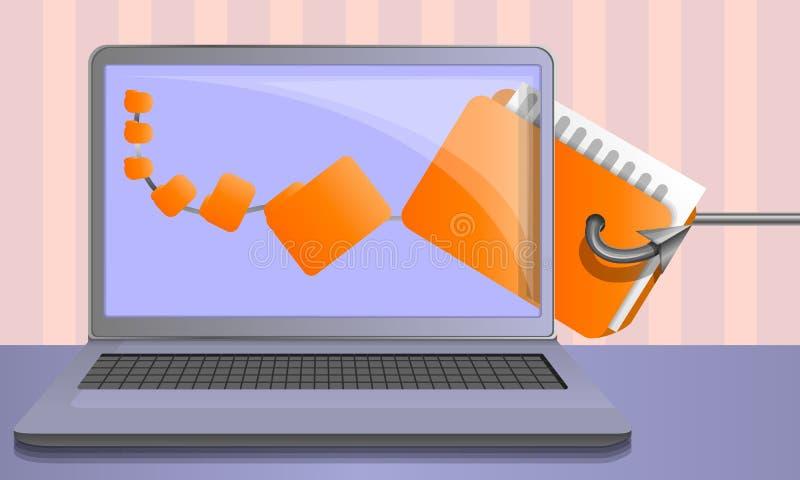 Phishing Konzepthintergrund der Personendaten, Karikaturart stock abbildung