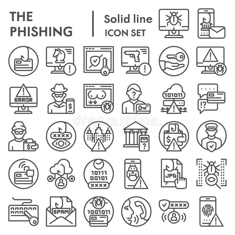 Phishing-Linie Ikonensatz, Cyberverbrechensymbole Sammlung, Vektorskizzen, Logoillustrationen, die Zeichen zerhackend linear vektor abbildung