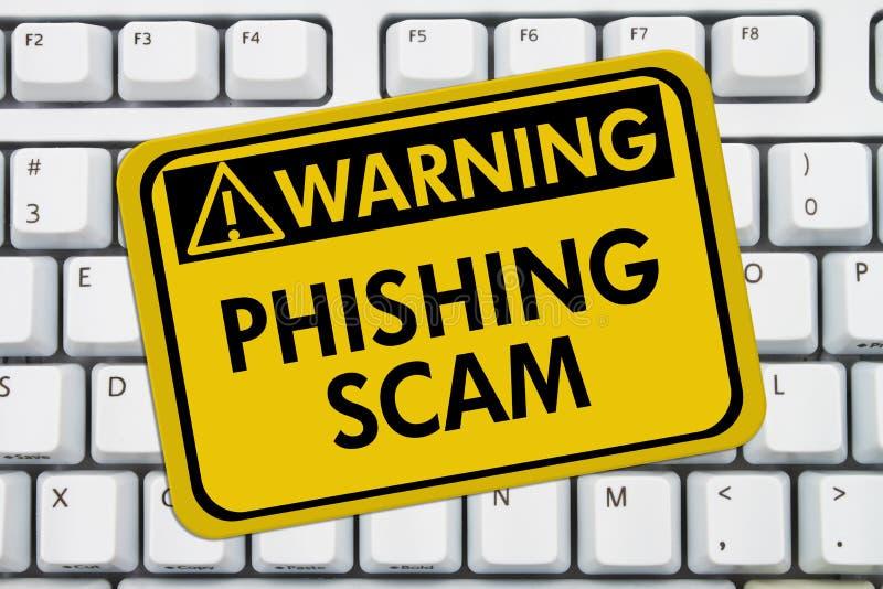 Phishing przekrętu znak ostrzegawczy zdjęcia royalty free