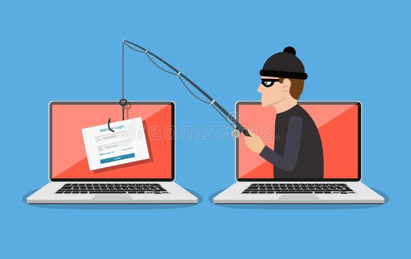 Phishing scam, hacker attack. Login into account and fishing hook. Phishing scam, hacker attack and web security concept. online scam and steal. vector stock illustration