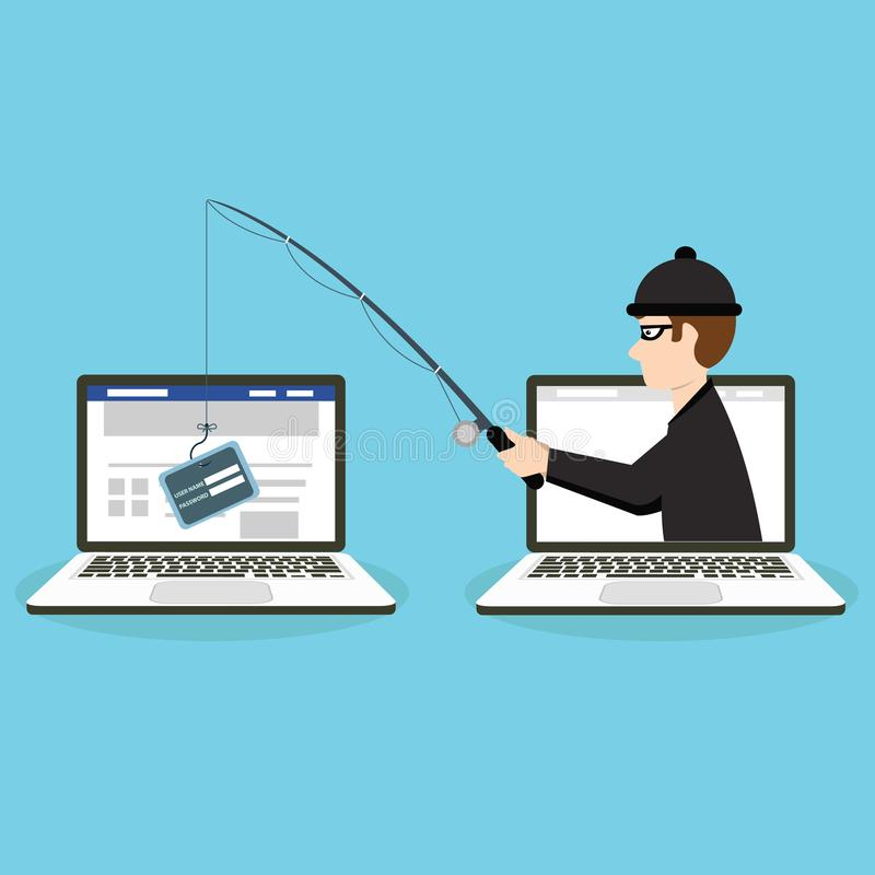 Phishing scam, hacker attack and web security vector concept. Illustration of phishing and fraud, online scam and steal.  vector illustration