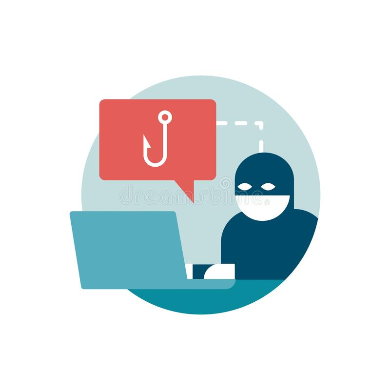 Phishing and scam. Hacker trying to steal passwords online: phishing, scam and malware concept royalty free illustration