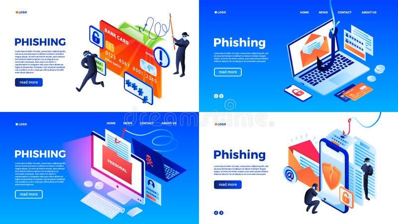 Phishing sztandaru set, isometric styl ilustracja wektor